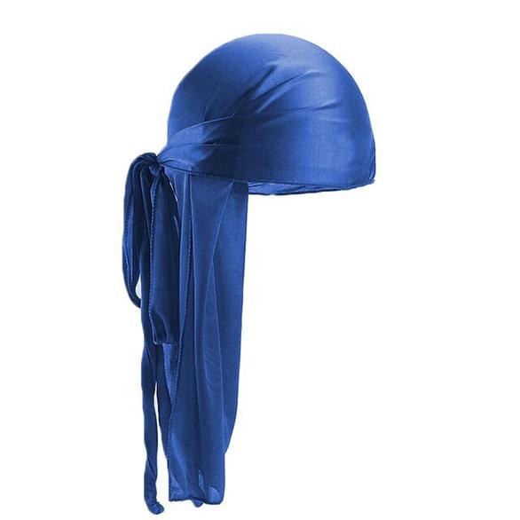 durag bleu en soie