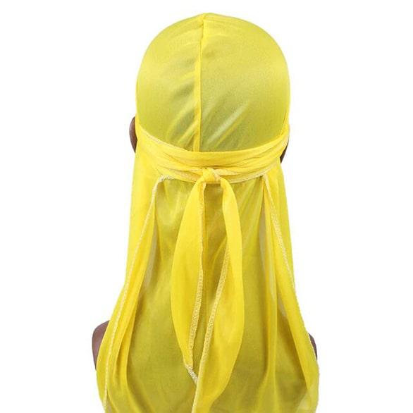 durag en satin jaune