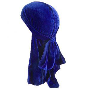 durag en velours bleu royal
