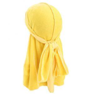 durag en velours jaune